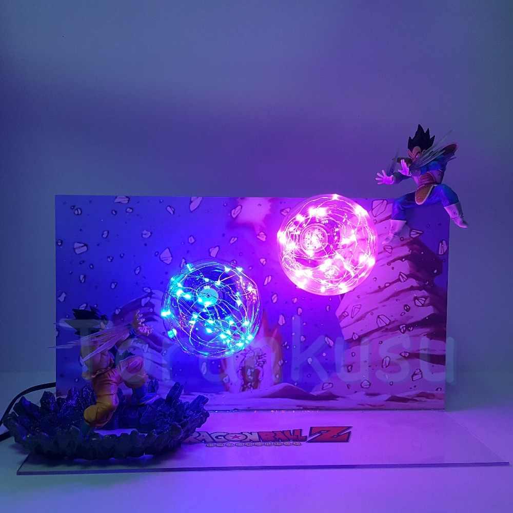 Dragon ball z son goku kamehameha vs vegeta galick gun diy led conjunto figurinhas dragão bola lampara figura de ação dragonball