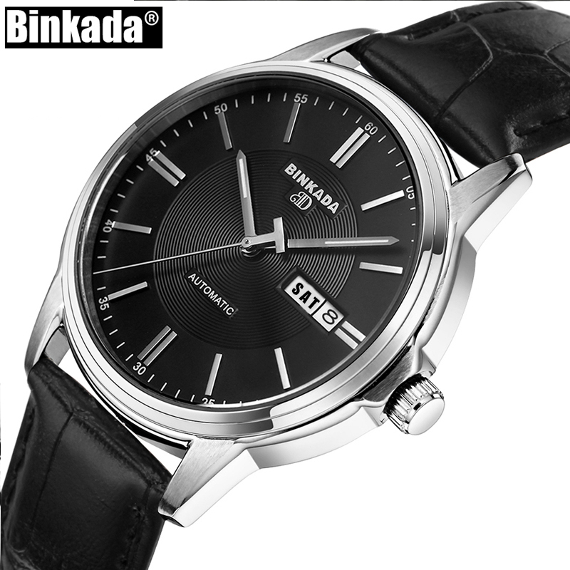 New Classic Simple BINKADA Automatic Watch Men High Quality Mechanical Luxury Brand Business Watch Casual Male