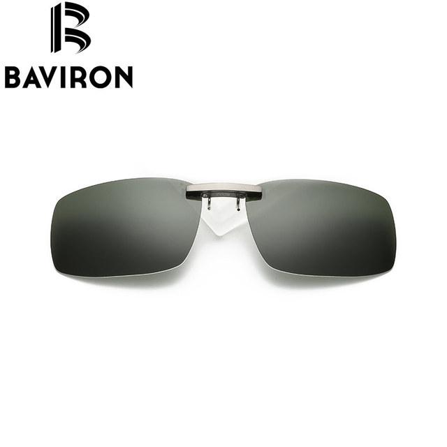 BAVIRON Unidade Sem Aro Miopia Clip sobre Óculos De Sol Do Carro Clipe Óculos De Lentes Polarizadas UV400 Óculos Adequado Filp sobre Quadro B2008JP