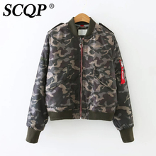 SCQP Letter Zippers Printed Military Bomber Jacket Women 2016 Fashion Ladies Army Jacket Women College Winter Women Basic Coats