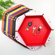 Foldable PU Leather Storage Tray Table Games Key Wallet Coin Box Desktop Trays Decorative Organizer