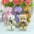 2Pcs/Set 8CM Bow Tie Teddy Bear Mini Joint Plush Keychain Bear Bouquet Toy Phone Pendant 5Colors Animal Plush Toys Dolls