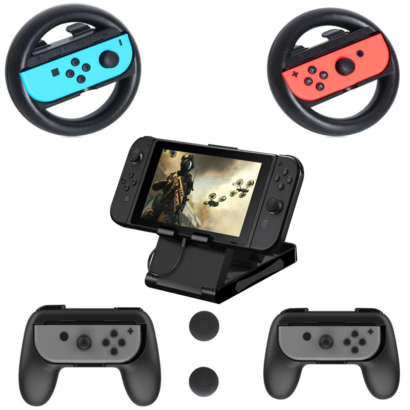 7 in 1 Joy-Con Handle Grip Kit,Steering Wheel Pair ,Playstand Bracket Holder,Thumb Grips for Nintend Switch NS NX Accessories