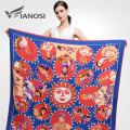 [VIANOSI]  Fashion Foulard Women Shawls Red Twill Silk Satin Scarf Print Pattern 130*130CM Square Head Scarves VA045