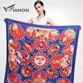 [Vianosi] moda mulheres foulard xales sarja lenço de seda de cetim vermelho cabeça padrão de impressão 130*130 centímetros quadrados lenços va045