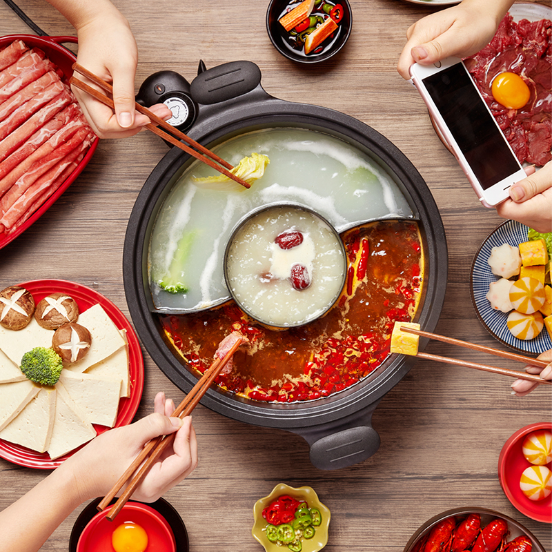 220V Electric Multi Cooker 2 Flavors Hot Pot Household Non stick 6L Electric Cooking Machine Two