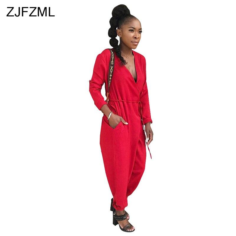ZJFZML V Neck Full Sleeve Casual Basic Jumpsuit 2018 Women Solid Full Length Lantern Romper Ladies Bow Belt Loose Party Overalls