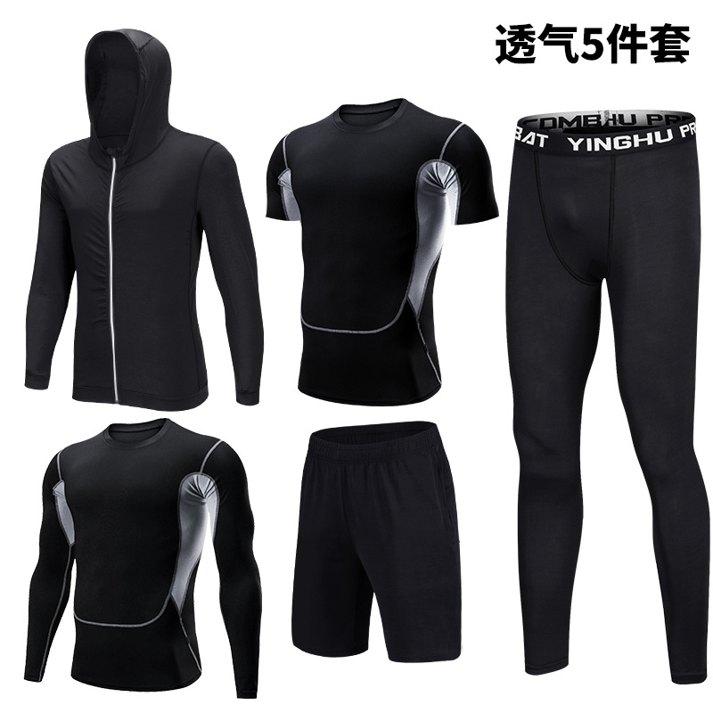 Large Size Five Piece Fitness Suit Men's Hooded Sweater Basketball Running Training Vest Sports Suit