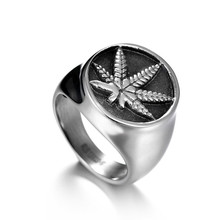 Mens Boys Equisite Stainless Steel Ice Out Weed Signet Ring Religious Maple Leaf Size 8-13