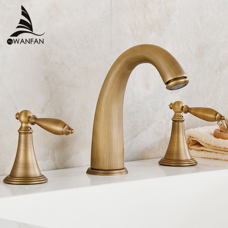 Free Shipping Wholesale Promotion Deck Mounted Widespread Antique Brass Bathroom Basin Faucet Dual Handles Mixer HJ-6837F
