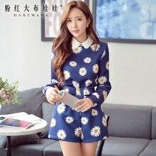 dabuwawa dark blue daisy print kimono fashion high-waisted shorts women wholesale