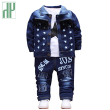Children clothing Sport Denim Jeans Coat T-shirt Pants 3PCS Star girl tracksuits costume kids toddler boys sets outfit