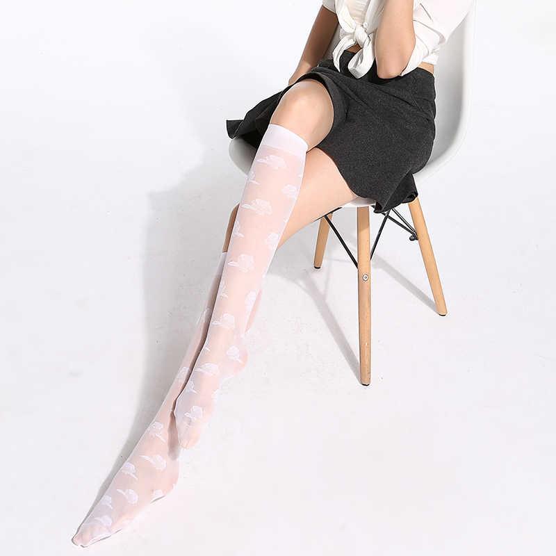 10 çift/paket Sıcak Ipek Jakarlı diz üstü çorap 40D Elastik Ultra ince Şeffaf Naylon Yarım Çorap (mix İki renk)