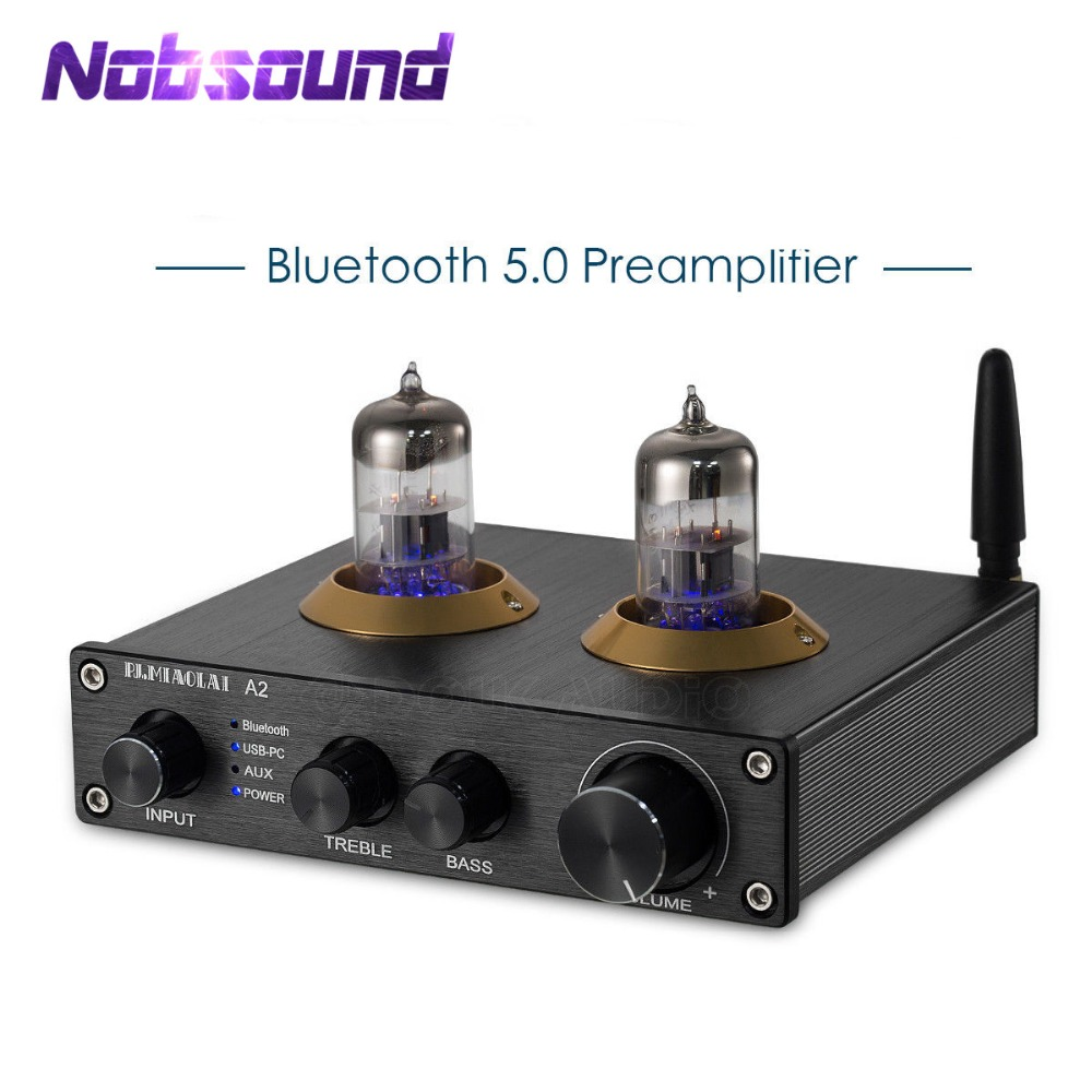 2019 Nobsound סטריאו 6N3 צינור ואקום מראש מגבר Bluetooth 5.0 HiFi USB-PC מפענח AUX Preamp עם טרבל ובס שליטה