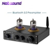 2020 Nobsound Stereo 6N3 Vacuum Tube Pre amplifier Bluetooth 5.0 HiFi USB PC Decoder AUX Preamp With Treble&Bass Control|Amplifier|   -