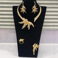 GODKI Luxury Palm Tree Leaf Nigerian Choker Jewelry sets For Women Wedding Cubic Zircon CZ Dubai Gold Bridal Jewelry Set 2019