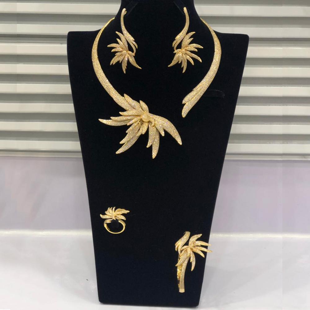 GODKI luxe feuille de palmier nigérian tour de cou ensembles de bijoux pour les femmes de mariage cubique Zircon CZ Dubai or bijoux de mariée ensemble 2019