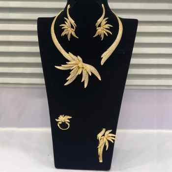 GODKI Luxury Palm Tree Leaf Nigerian Choker Jewelry sets For Women Wedding Cubic Zircon CZ Dubai Gold Bridal Jewelry Set 2019 - DISCOUNT ITEM  32% OFF All Category