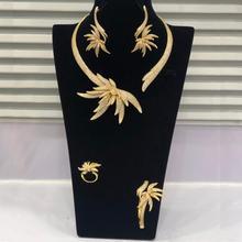 Godki luxo folha de palmeira nigeriano gargantilha conjuntos de jóias para o casamento feminino zircon cúbico cz dubai ouro conjunto de jóias de noiva 2019