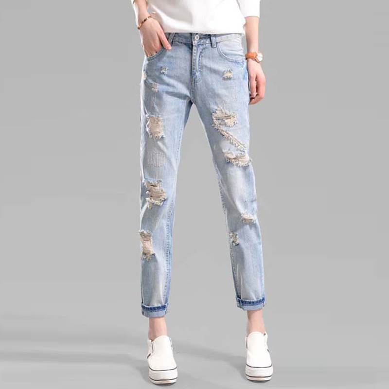 Women New Fashion Beach Lady Casual Ripped Solid Color Denim Pants Trousers