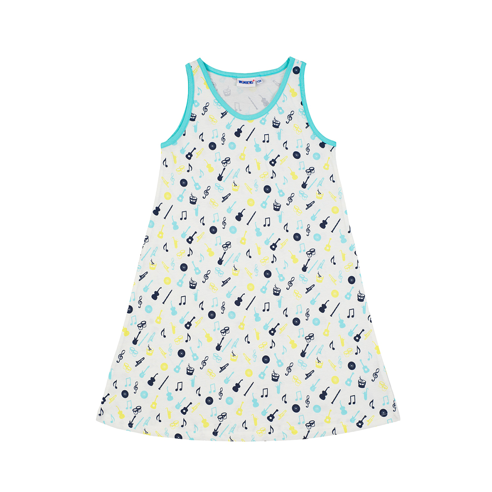 Nightgowns Winkiki for girls WJG81039 Sleepwear Nightgown Children Dress Pajamas bohemian sleeveless butterfly print ruffled dress for girls