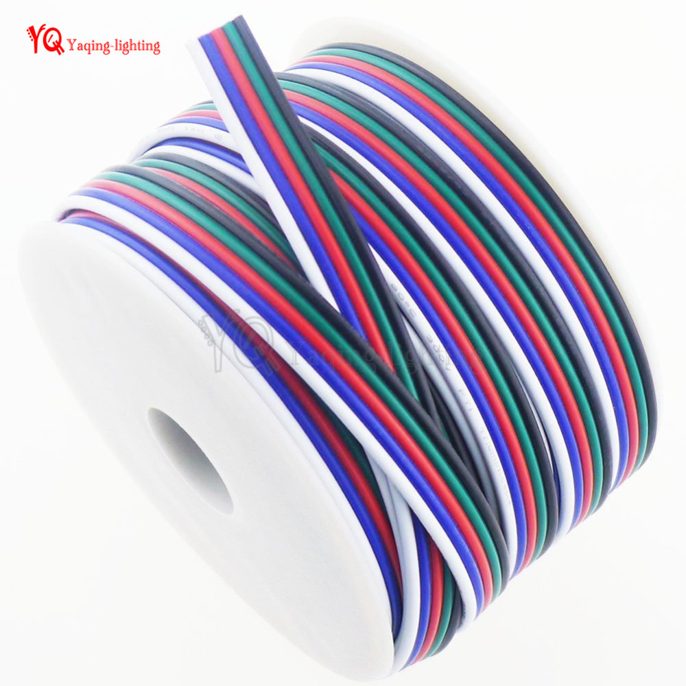 330 FT 18 Gauge RGBW LED Strip Extension Cable 100M 18AWG 5pin 5 Color Stand Wire