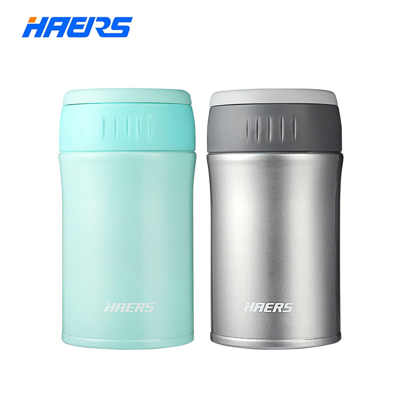 Haers 500ml Food Thermal Jar Vacuum Insulated Soup Thermos 18/8 Stainless Steel Lunch Box with Folding Spoon