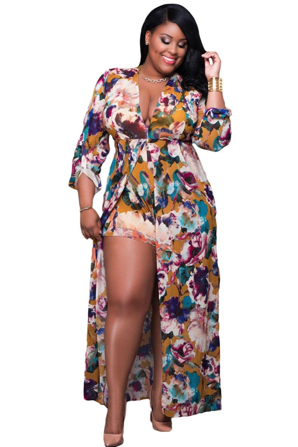 Autumn Long Sleeve Short Pant Cloak Jumpsuit Women Color Block Print V Neck Slit Maxi Rompers Plus Size Monos Largos De Mujer