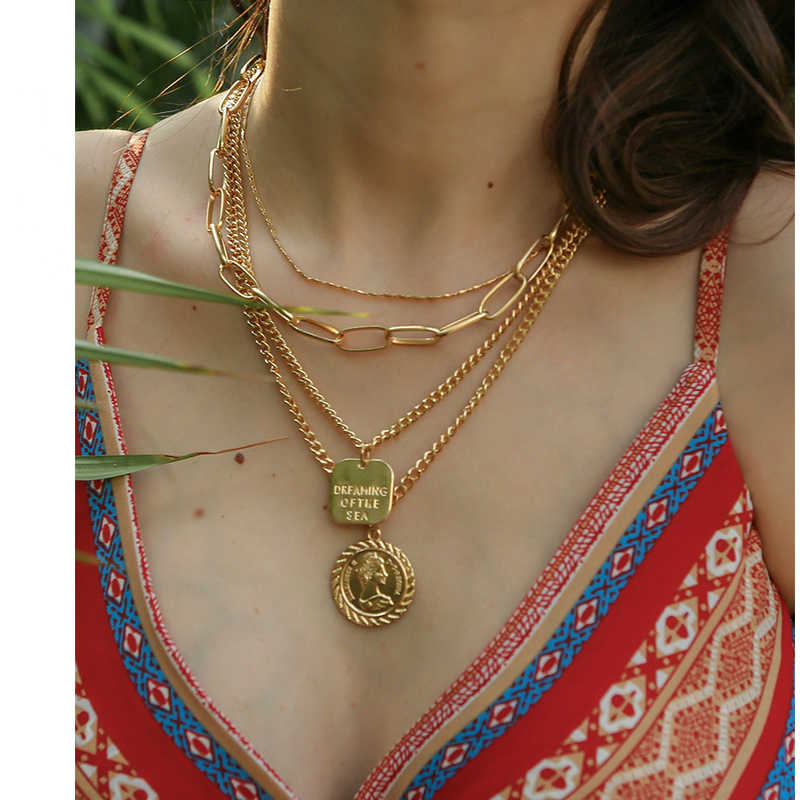 New Necklace Fashion Personality Exaggeration Coin Alloy Coin Multi-layer Necklace Hot Sale Jewelry Wholesale Statement Necklace