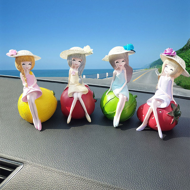 Fruit Girl Car Ornaments 1PCS Car Seat Ornament Home Lovely Decor Dolls Toys Accessories Gift For Girl