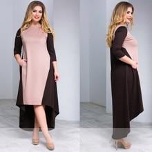 Plus Size Women Winter Dress Loose Patchwork Women Maxi Dress Three Quarter Sleeve Long Dress 5XL 6XL Women Clothing