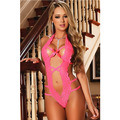 Valentine's day new red V Halter sleeveless back buckle sexy lace pajamas 3256 hollow piece