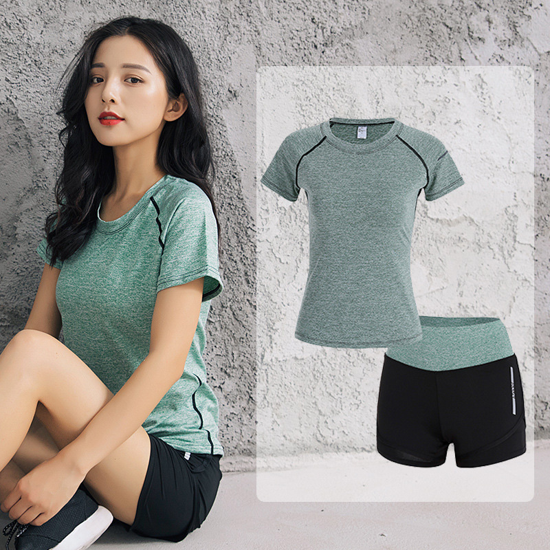 Ladies 2 Items Yoga Set Coaching material Shirt+shorts Health Go well with Feminine Health club Exercise Clothes Breathable Yoga Leggings Sport Go well with Yoga Units, Low cost Yoga...