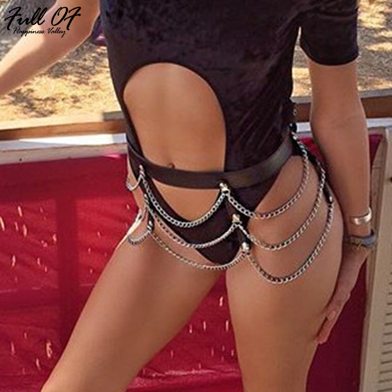 Sexy Women PU Patchwork Metal Chain Summer Skirt Asymmetrical 2018 Ladies Hollow Lace Up Club Beach Party Sparkly Mini Skirts