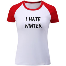 802768088 iDzn Women's I Hate Winter Graphic T Shirt Female Patchwork Short Sleeve  Tees Fashion Fitness Girl's Tops Cotton Summer Clothes