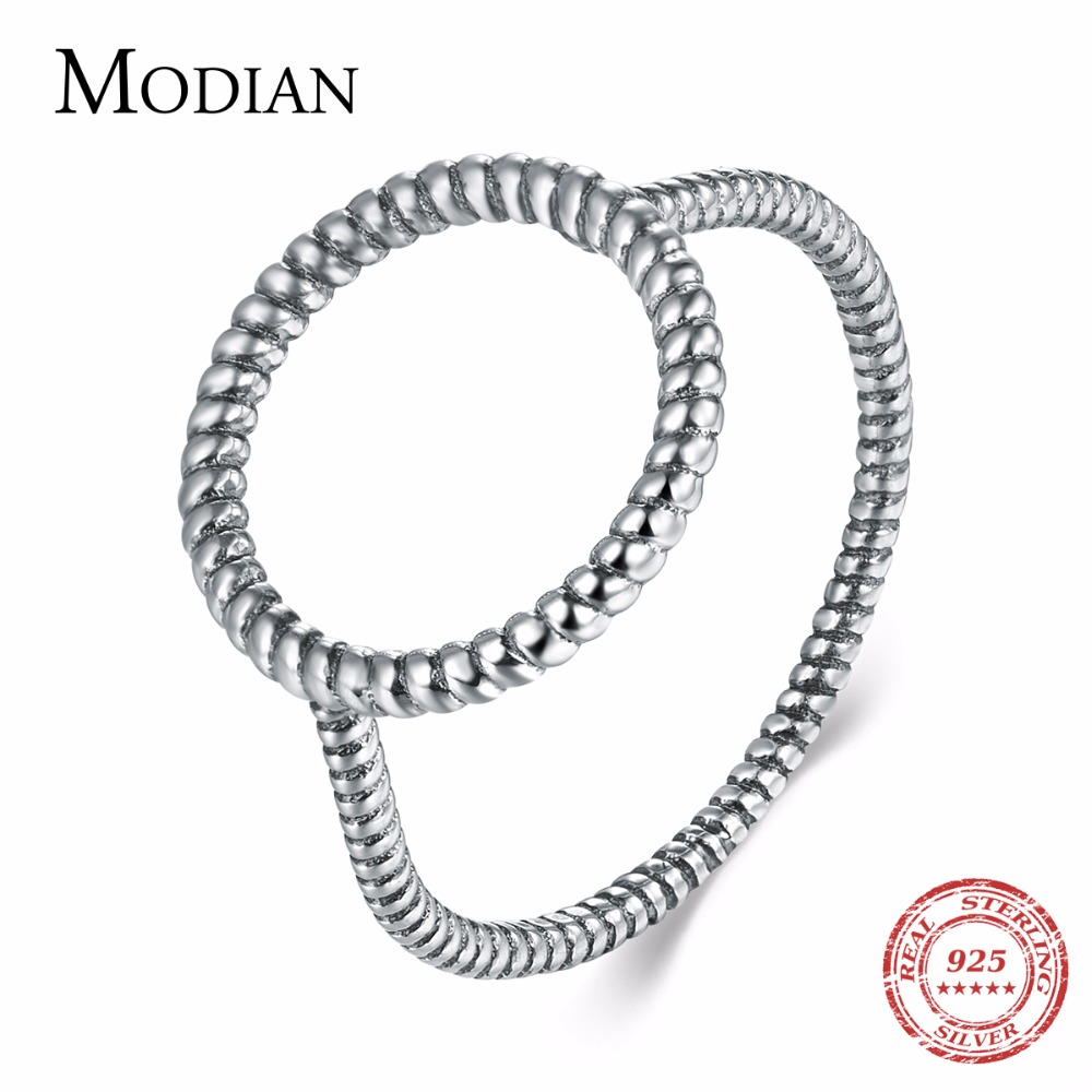 Modian New Fashion Simple Winding Line Vintage Party Ring Classic Real 925 Sterling Silver Party Finger Rings For Women Gift