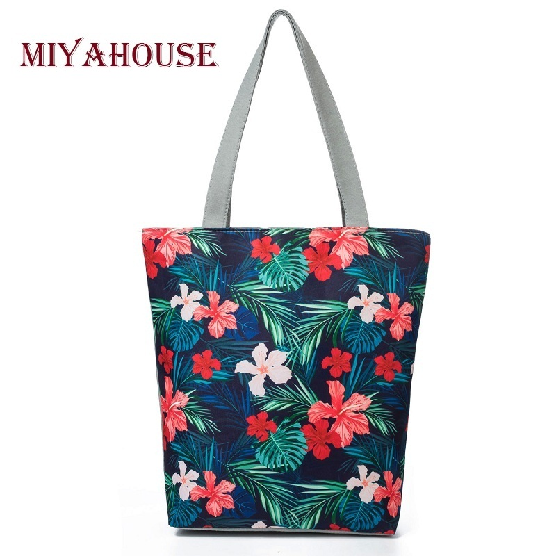 Retro Floral Design Beach Bags Female Candy Color Shoulder Bag For Casual Canvas Tote Handbags