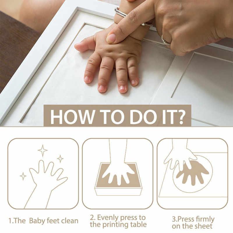 3 part Wooden Baby Care Non-Toxic Baby Photo frame DIY Handprint Footprint Imprint Kit Baby Souvenirs Casting Print Newborn