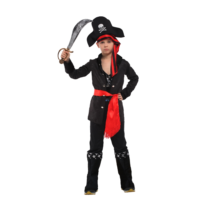 Umorden Halloween Costumes for Boys Pirate Captain Costume Black Skull Pirate Cosplay Set for Boy Kids Party Dress Up