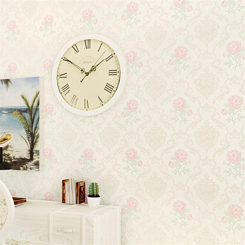 Beibehang European pastoral flowers co pressure wallpaper non woven wallpaper bedroom living room sofa TV backdrop 3d wallpaper