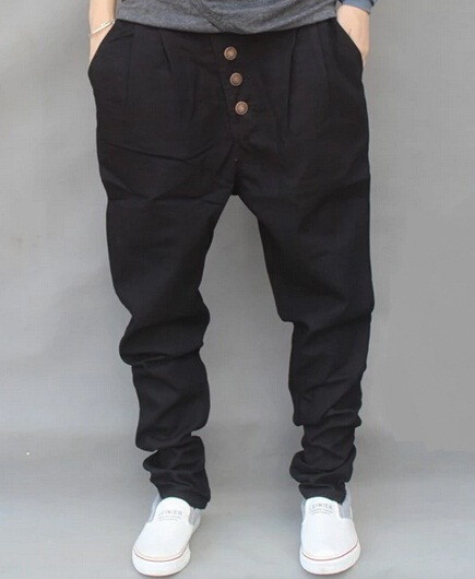 Drop Crotch Black Harem Pants Men 2017 New Fashion Buttons Embellished Cotton Pants Hiphop Plus Size Free Shipping