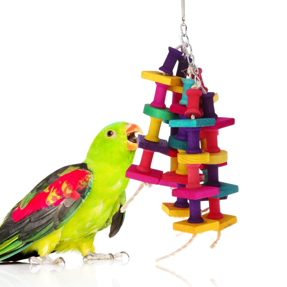 Pet Bird Toys : Colorful parrot toys natural wood pet bird chew
