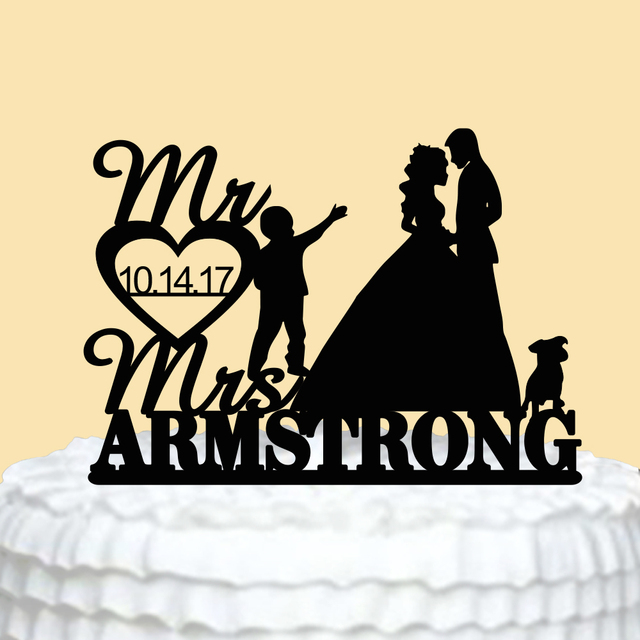 Personalized Mr Mrs Wedding Cake Topper Acrylic Family With Dog Custom Bride Groom