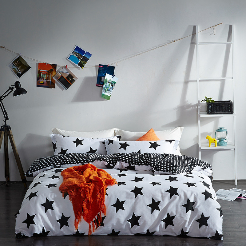 Home Textile Black White Star Stripe Grid 100% Cotton 4 Pcs Bedding Set Duvet Cover Flat Sheet Pillowcase Bed LinenHome Textile Black White Star Stripe Grid 100% Cotton 4 Pcs Bedding Set Duvet Cover Flat Sheet Pillowcase Bed Linen