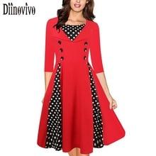 Vintage 50s 60s Fashion O-Neck Dot Patchwork Dress 2017 New Autumn Women Elegant Cotton Elastic Big Swing Dress Vestidos D86