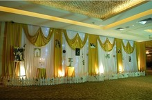 2015 New Design Wedding Backdrop Stage Curtain 10ft H 40ft W luxury gold color