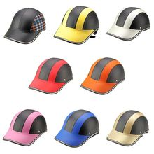 1Pc PU Leather Motorcycle Open Half face Helmets Bicycle Scooter Helmet