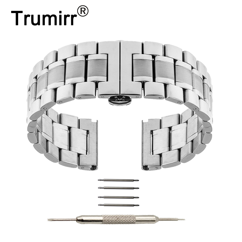 цена на 22mm Butterfly Buckle Strap for LG G Watch W100 W110 Urbane W150 Asus Zenwatch 1 2 Pebble Time Stainless Steel Band Bracelet