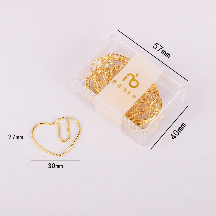 Gold Love Heart Stainless Steel Paper Clip Golden Pin Clip Lovely Kawaii Stationery Paper Clips Gold Bookmark Kawaii Accessories