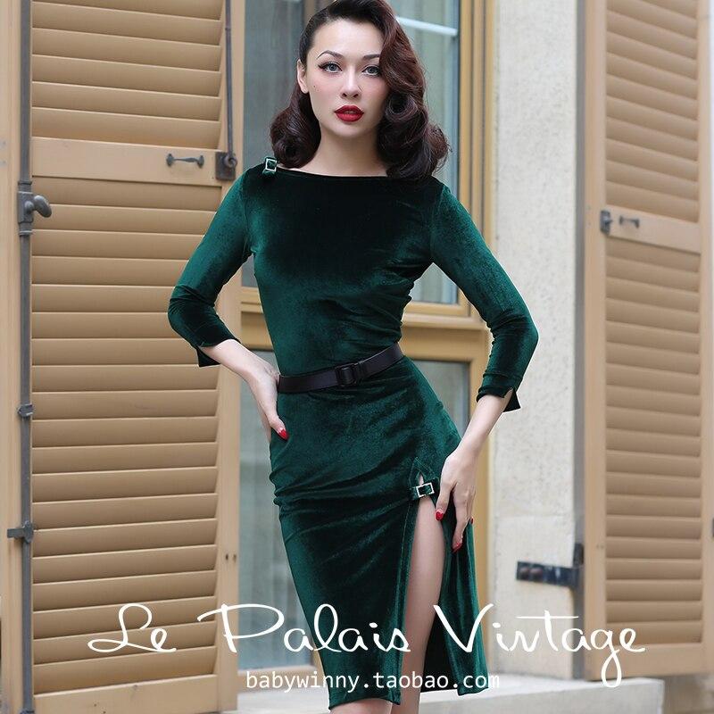 40- le palais vintage women pinup velvet boat neck side slit wiggle pencil  dress in c2e70e97ecc9